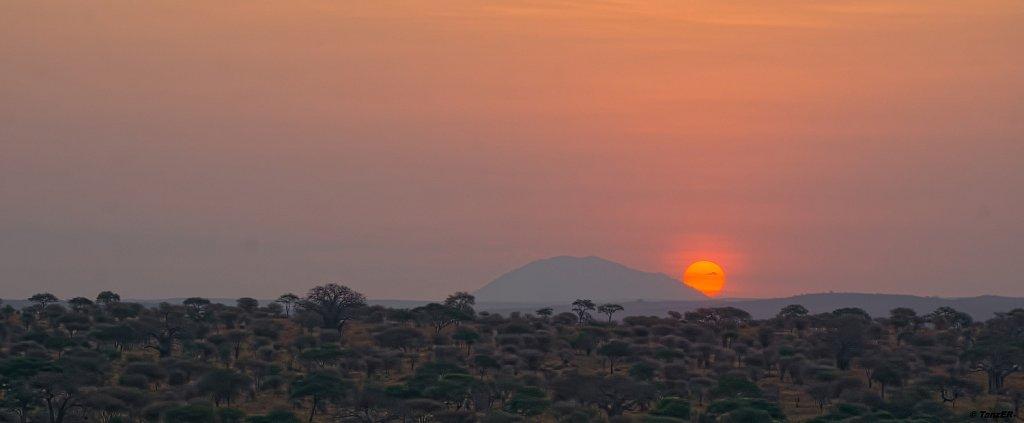 Sonnenuntergang über dem Tarangire Hill